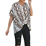 Fashion Tops for Women V Neck Leopard Printing Casual Short Sleeve Irregular Shirt (XXL, Brown)