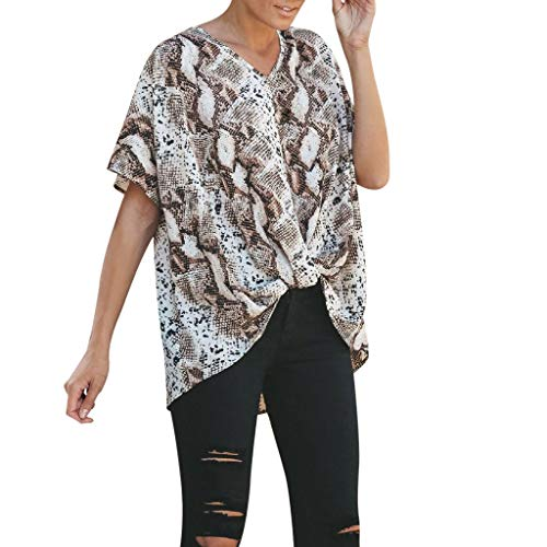 - Sanyyanlsy Women's Snakeskin Print Twist Blouse Shirt Batwing Short Sleeve V-Neck Tank Tops Ladies Fashion Vest T-Shirt Brown