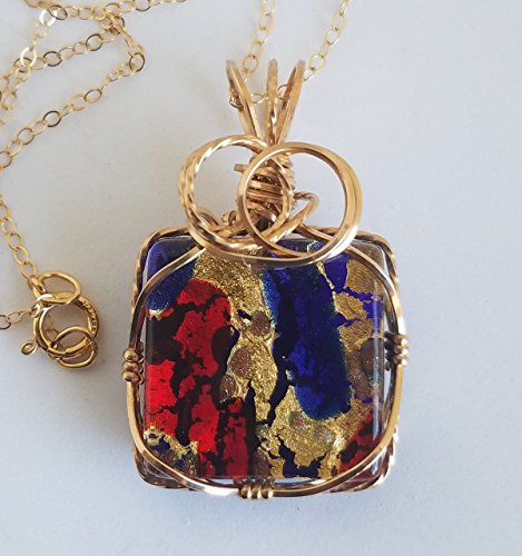Murano Glass Pendant with Gold-filled 18