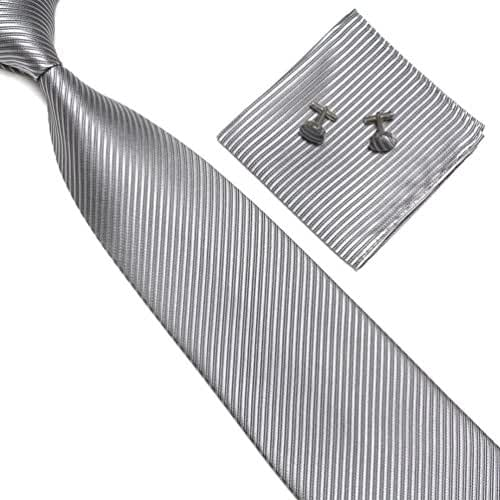 Stylefad Men's Tie Set Solid Color Striped Necktie Pocket Square and Cufflinks