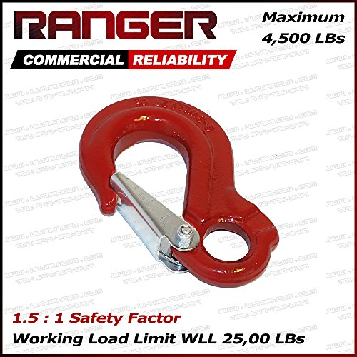 Ranger WLL 1.2 Tons G80 Eye Hook with Clevis Safety Latch for Hoist Sling Winch Tow Crane Lift by Ultranger (WLL 1.2 Tons Break Point 45,00 LBs) (1.2T Eye Hook) (Clevis Hook)