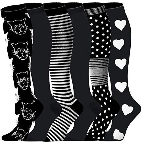 Compression Socks Women & Men(1,3,6,8 pairs) - Best for Running,Medical,Athletic Sports,Flight Travel, Pregnancy