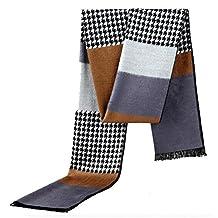 GAMT Designer Style Lattice Pattern Silk Scarf for Men Lightweight Warm Shawl