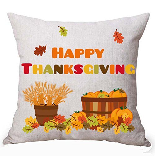 Queen's designer Happy Thanksgiving Wheat Ears A Basket Of Pumpkin Golden Font Cotton Linen Decorative Throw Pillow Case Cushion Cover Square 18 X 18 Inches (No.7)