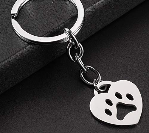 1 Pc Heart Shaped Dog Bear Paw Print Keychains Pendant Women Wrist Wristlet Keys Hook Key Rings Zenith Popular Pocket Teenagers Bag Car Keyring (Zenith Ring)