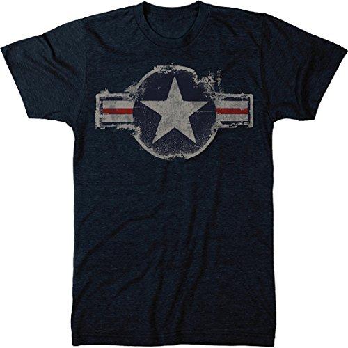 Vintage US Air Force Logo Men's Modern Fit Tri-Blend T-Shirt (Vintage Navy, (Air Force Logo T-shirt)