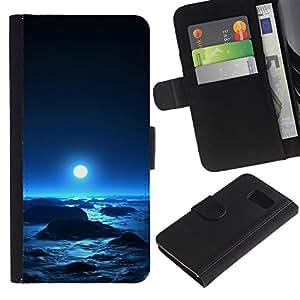 KLONGSHOP // Tirón de la caja Cartera de cuero con ranuras para tarjetas - Luna azul - Samsung Galaxy S6 //