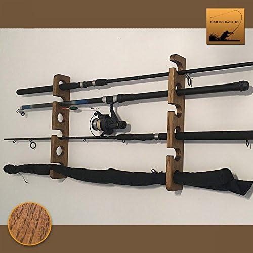 Amazon Com Fishingrack Eu Wooden Fishing Rod Rack Holder Wall Mount Dark Oak Sports Outdoors