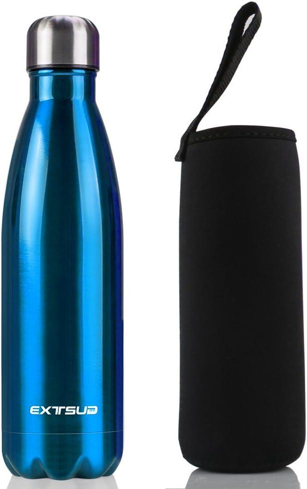 EXTSUD 500ml Botella Exterior de Agua al Vacío Termo de Acero Inoxidable Botella, Azul