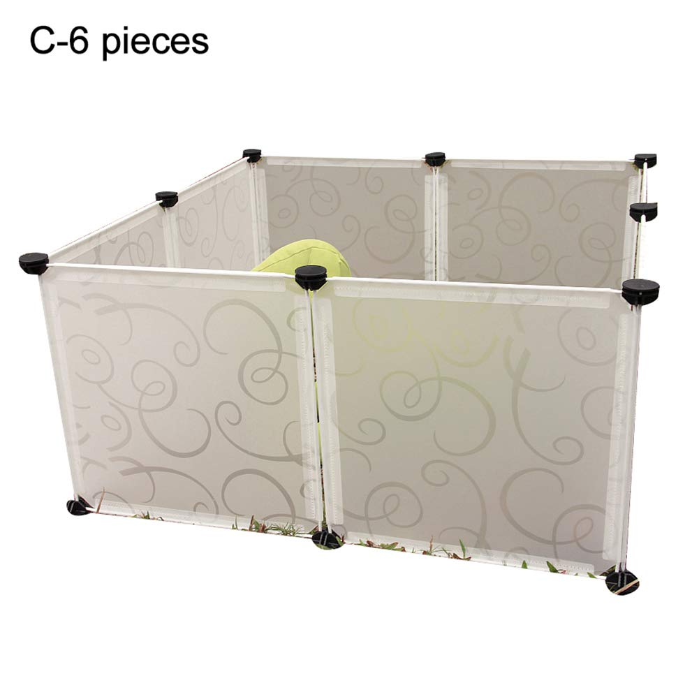 C 6Pcs Tzp5ChB DIY Dog Playpen Puppy Crate Metal Wire Kennel Detachable Pet Fence Cage Portable B 6Pcs