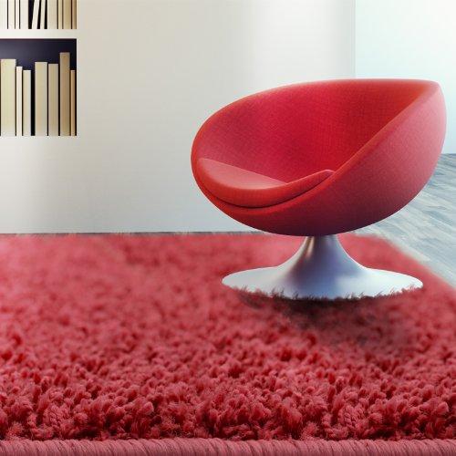 Floori® Shaggy Teppich | Rot - Größe wählbar - GuT-Siegel/PRODIS