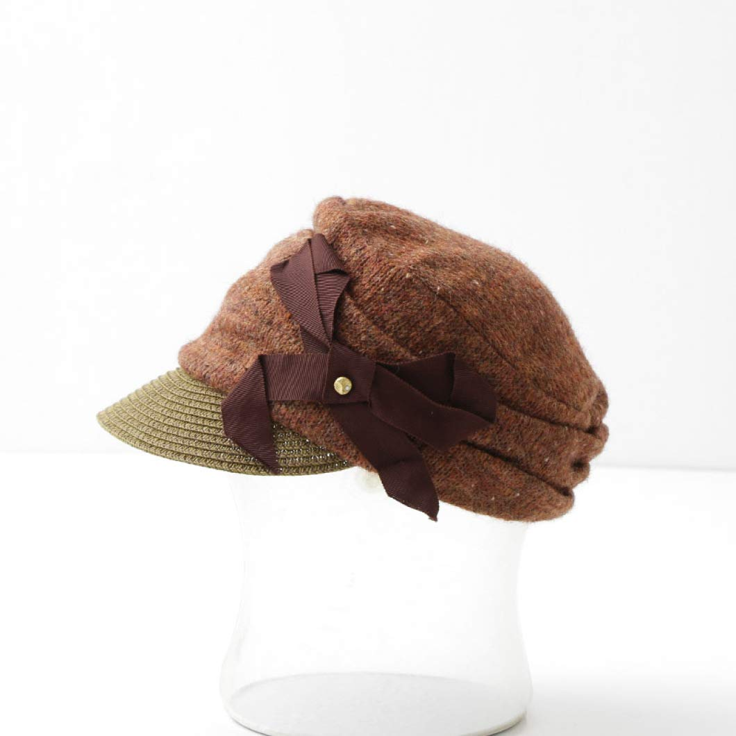Ladies Newsboy Caps Girl Knitted Fashion Patchwork Beanies Adjustable Timeless Bonnet Warm Short Brim Fedoras Visor Hats Brown by Nat Terry
