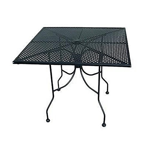 American Tables & Seating ALM3048 Outdoor Table, Rectangle Mesh Top with Umbrella Hole, Powder Coat, 30'' x 48'' x 29'', Black by American Tables & Seating