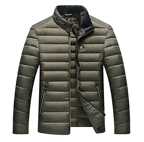 L Outerwear Jacket Casual Warm Men Collar Winter Zippered Army Green Stand Padded 4XL Cotton nU4v4xBz