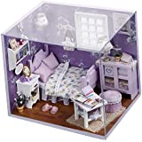 Ogrmar Wooden Dollhouse Miniatures DIY House Kit With Cover and Led Light-Sweet Sunshine