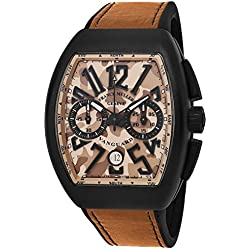 Franck Muller Vanguard Mens Automatic Date Chronograph Beige Camouflage Face Black Rubber Strap and Beige Leather Ontop Watch V 45 CC DT CAMOUFLAGE TTNRMC.SB