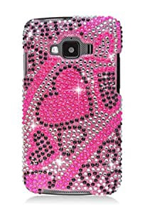 Full Diamond Graphic Case for Samsung SGH-i847 Rugby Smart - Pink/Black Heart (Package include a HandHelditems Sketch Stylus Pen)