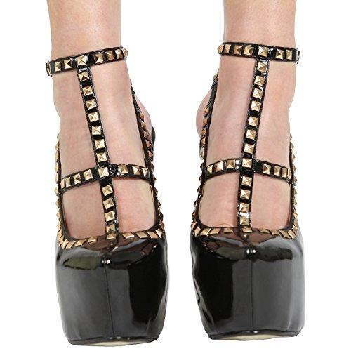 Alla 8 Taglia Scarpe Womens Ladies Alto Festa Brevetto Collection Caviglia Nascosta Piattaforma Con 3 Tacco Cinturino Core Nero Da q04aCx