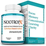 NootropX - New and Improved Supplemental Formula for Limitless Brain Potential - Increase Mental Focus, Enhance Memory and Boost Concentration without Negative Side Effects! (60 Caps - 30 Day Supply)