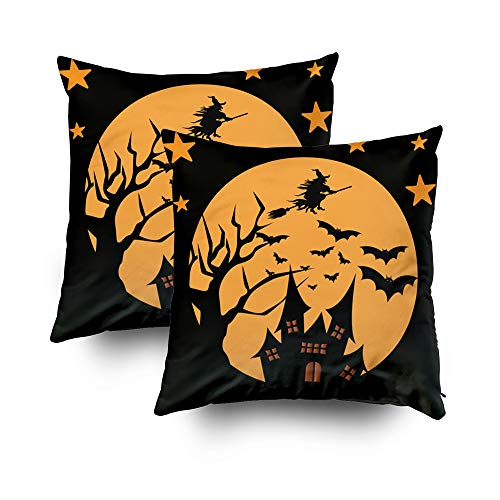 Capsceoll 2PCS Christmas Halloween Background Decorative Throw Pillow Case 18X18Inch,Home Decoration Pillowcase Zippered Pillow Covers Cushion Cover with Words for Book Lover Worm Sofa Couch