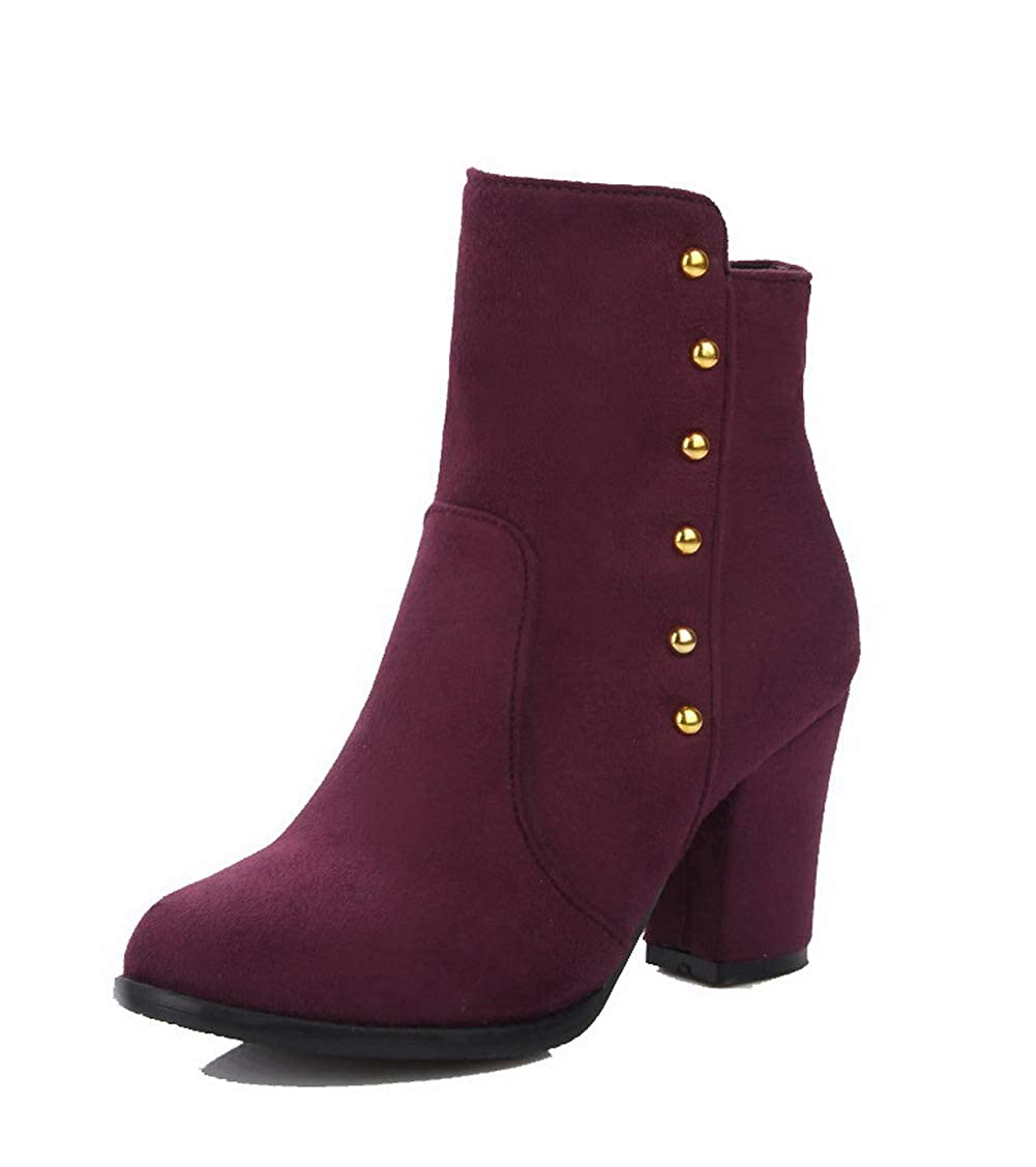 BUSXT111672 AmoonyFashion Womens Zipper High-Heels Imitated Suede Ankle-High Boots