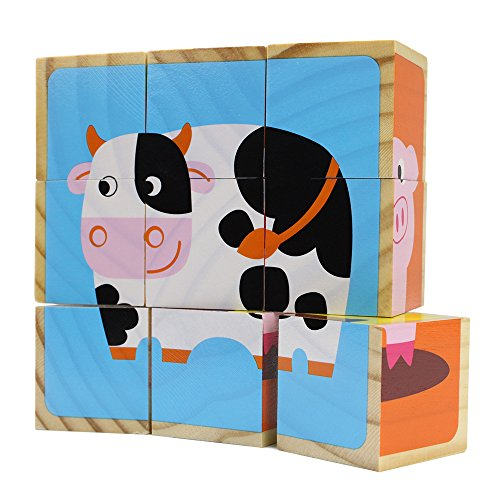 Price comparison product image Professor Poplar's Barnyard Animals Stacking Puzzle Blocks,  9 Pieces