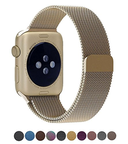 HenMerry Replacement for Apple Watch Band 38mm 42mm, Replacement for iWatch Band with Magnetic Closure Clasp Replacemen for iwatch Band Series 3 2 1 (38mm, Retro Gold) by HenMerry