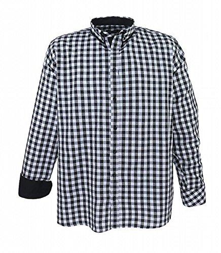 Lavecchia Übergrößen Hemd bis 7XL; langarm Herren-Hemd Freizeithemd Schwarz Weiß kariert, Oberhemd für Männer m. Button Down Kragen; großen Größen