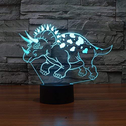 Stereo Table Lamp/Creative Birthday Gift Light 3D Night Light Dinosaur Colorful USB Light Led Energyaving Lamp Birthday Creative Table Lamp/Task Light 195X240X87(Mm), BOSSLV, Control Touch Base