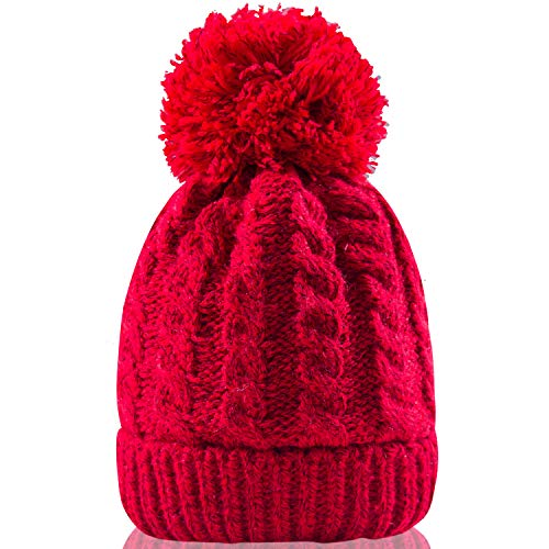 (Women's Winter Beanie Warm Fleece Lining - Thick Slouchy Cable Knit Skull Hat Ski Cap(Red) )