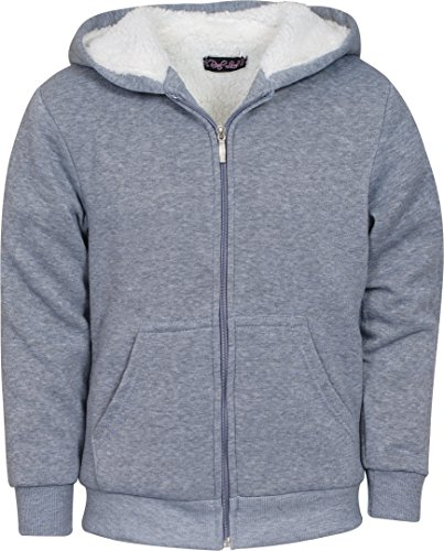 Real Love Girl\\\'s Fleece Sherpa Lined Hooded Sweatshirt, Grey, Size 7/8\''