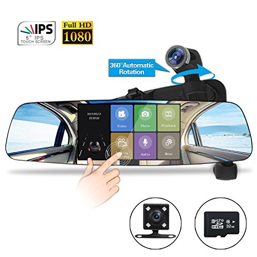 Spedal Car Dash Cam, 1080P HD 5.0 Touch Screen Dashboard Camera, 360Automatic Rotation Car Camera with Parking Monitor, Loop Recording, G-Sensor, Night Vision (Backup Camera and 32 GB Card Included)