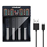 4-Bay USB Speedy Charging Smart Battery Charger Support Solar Panel,C40-S4 Intelligent Charger with USB Output for 3.8V 3.7V IMR 18650 26650 RCR123A 14500 16340 LiFeO4 1.2V Ni-MH Ni-Cd AA AAA Battery
