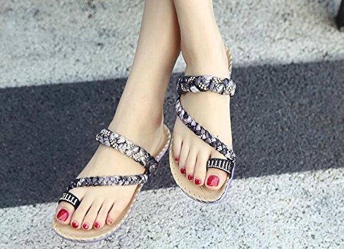 KPHY-Nationale Feng Shui Übungen Sommer Clip Toe Weiche Sandalen Weiche Toe bequeme und elegante Mädchen Sandalen Schuhe 35 Schwarz - 3cef94