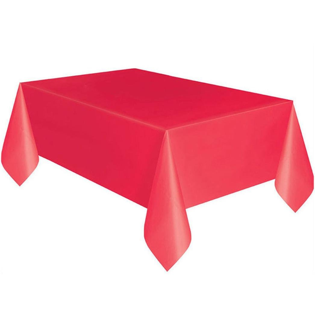 "SUEKQ Premium Heavy Duty Disposable Plastic Tablecloth 72"" X 54"" Large Rectangle Table Cover in 7 Color (red)"
