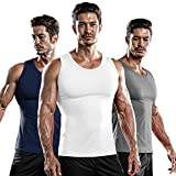 DRSKIN 3 Pack Men's Athletic Compression Sleeveless Tank Top Shirt Muscle Running Cool Dry Baselayer (NM-TA-(W,N,G), L)