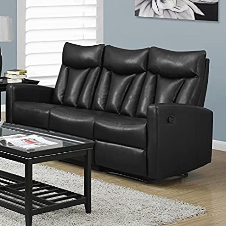 Monarch Specialties I 87BK 3 Reclining Sofa In Black Bonded Leather