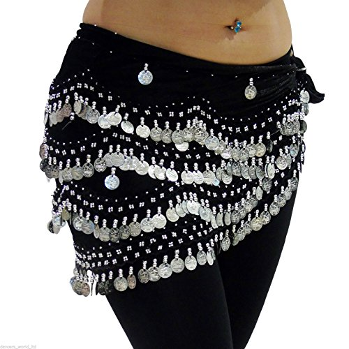 Black Silver Belly Dance Hip Scarf Coin & Bead Belt Wrap M to L US 12-16 ()