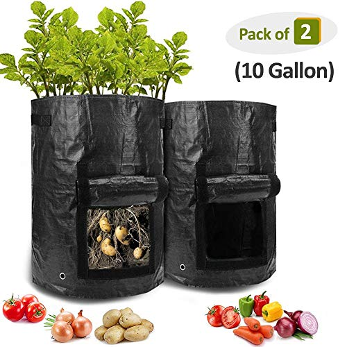 HomeFoundry Potato Grow Bags Planter Bags with Flap Garden Vegetables Planter Bags Aeration Fabric Perfect for Growing Carrot, Potato, Onion, Tomato, 10 Gallon 2 Pack