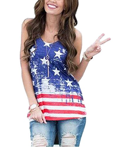 Fedpop Women Print USA Flag Loose Sleeveless V Neck T Shirt Casual Tank Top Vest