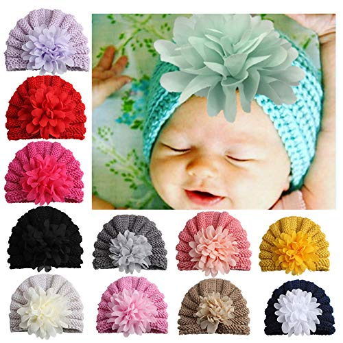 Christening Gift #1 Birthday CHSEEA 9PCS Cute Baby Hat Set Elastic Turban Headbands Hair Wraps Hairbands Hair Bow For Toddler Kids Photography Props Party Great Baby Shower Costume