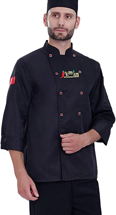 Pinji Chaqueta Chef Unisex Camisa de Cocinero Manga Larga de Verano L Negro: Amazon.es: Ropa y accesorios