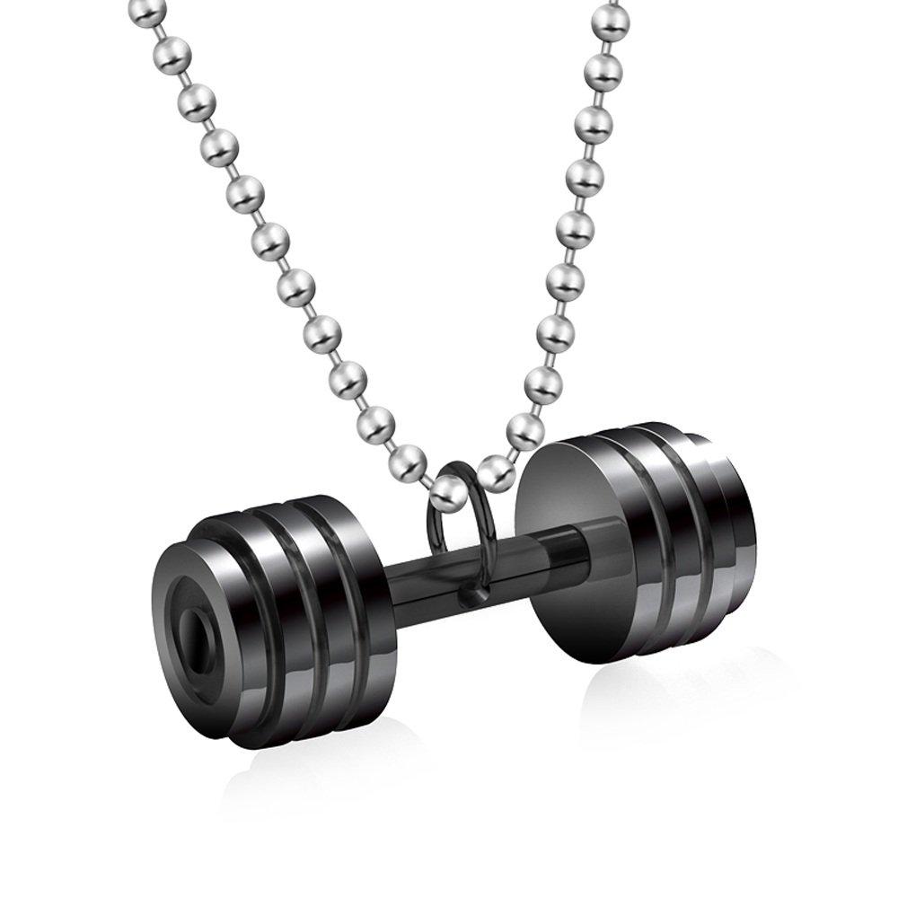 Aozuo Europäische und Amerikanische Mode-Fitness Hantel Langhantel Titanium Steel Men Es Halskette Persönlichkeit Bodybuilding Männlichen Pendant Anhänger Schmuck,C