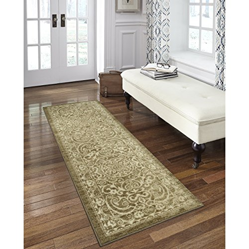 Maples Rugs AG4055701 Pelham 2' x 6' Non Skid Hallway Carpet Entry Rugs Runners [Made in USA] for Kitchen and Entryway, Khaki