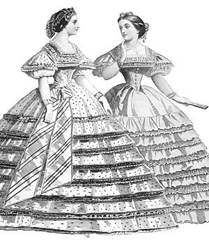 Steampunk Dresses | Women & Girl Costumes  1861 Raphael Evening Dress Pattern                               $17.95 AT vintagedancer.com