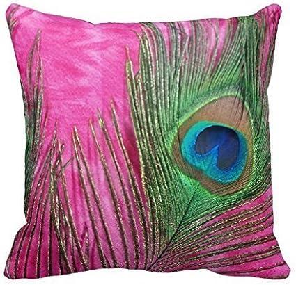 iksrgfvb Grandes Rosas Fuertes y Plumas de Pavo Real Bodegones Almohadas Decorativas Throw Pillowcase 45X45 CM