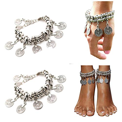 (SUNSCSC Boho Coin Anklet Bracelet Silver Plated Bohemian Tassel Barefoot Sandals Chain Jewelry (2PCS Coin Anklet Bracelet))