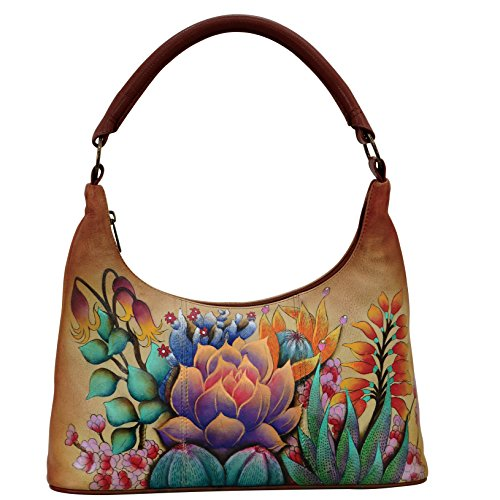 Anuschka Hand Painted Leather Women'S Medium Top Zip Hobo, Desert Sunset