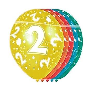 Flotador - Globos Número 2- 5 Piezas adecuado de helio impresión allover: Amazon.es: Juguetes y juegos