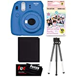 Fujifilm Instax Mini 9 (Cobalt Blue) w/Shiny Star Film (1-PK) Essential Bundle